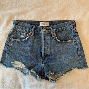 Agolde Parker vintage cut off denim shorts blue